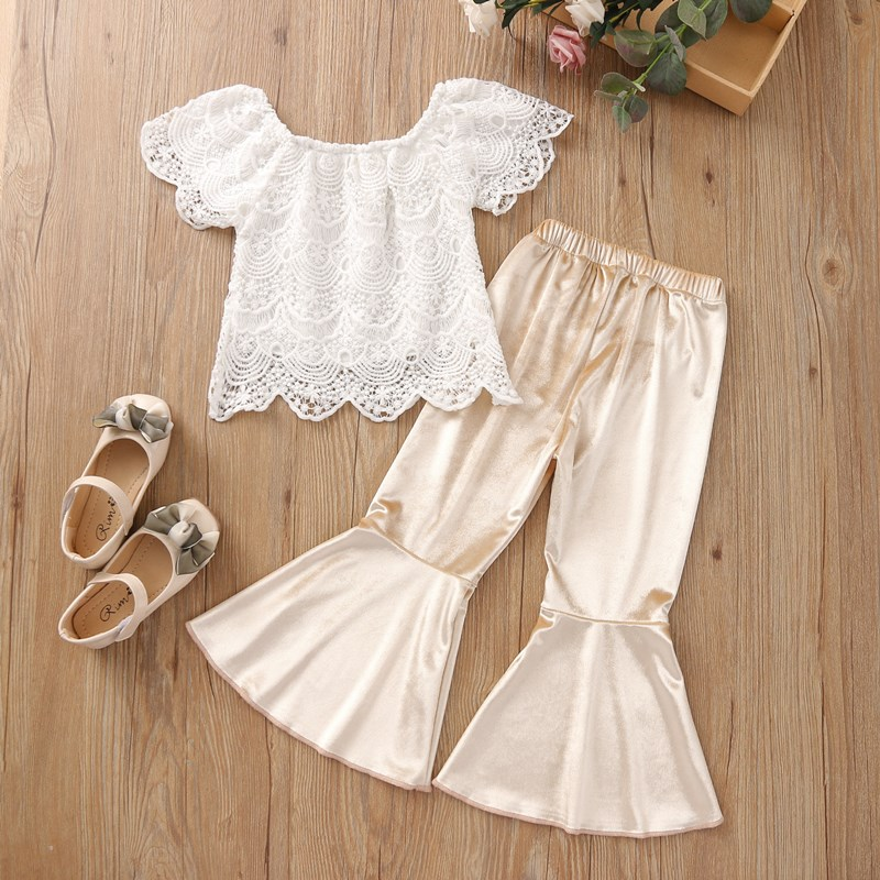Toddler Girls White Crochet Lace Blouse Top and Velvet Flare Pant Two Pieces Set