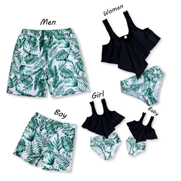 Family Matching Swimwear Tropical Green leaves Printed Bikini Swimsuit and Truck Shorts