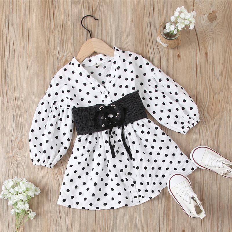 Toddler Girl Polka Dot Dresses Lace Up Denim Belt Dresses