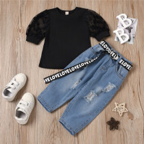 Toddler Girl Mesh Puff Sleeve Round Neck Top Letter Ribbon Ripped Denim Jeans Two Pieces Sets