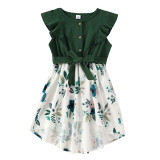 Mommy and Me Ruffles Sleeve Floral Bowknot Dresses