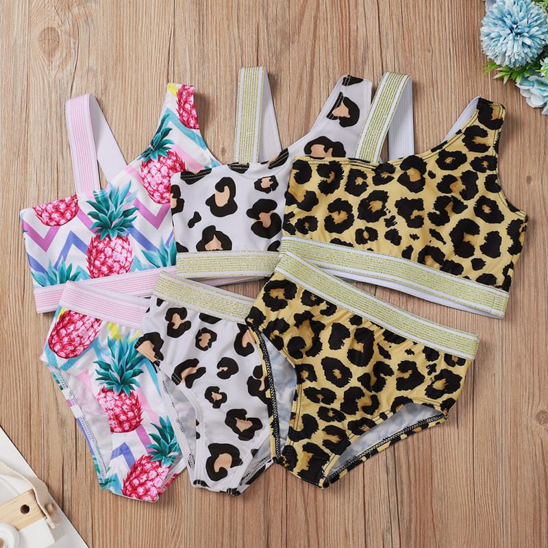 Kid Girl Panther Print Pineapple Print Bikini Set Beach Swimwear Two Pieces Swimsuit