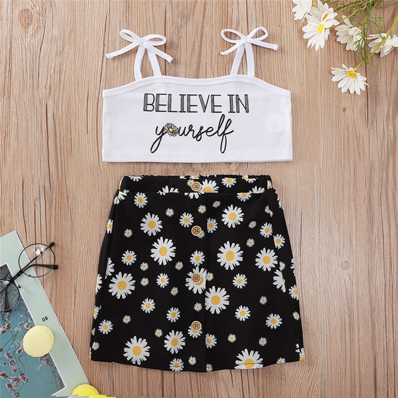 Toddler Girl Belive in Yourself Slogan Top Daisy Print Skirt Two Pieces Sets