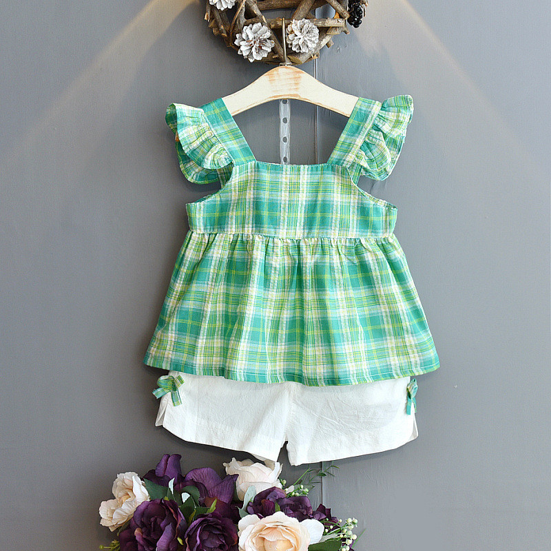Toddler Girl Ruffles Plaid Top and Shorts Two Pieces Sets
