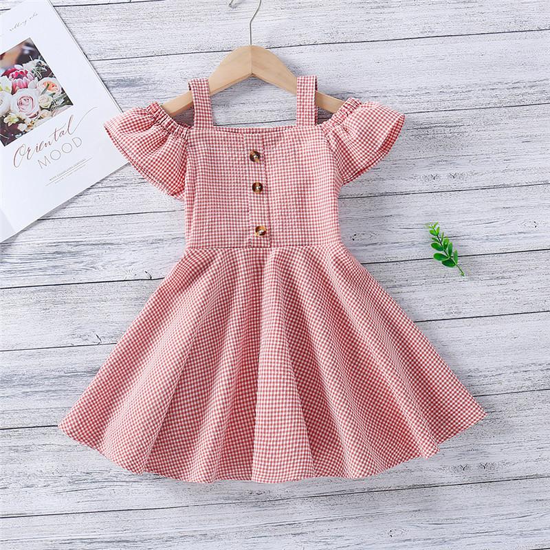 Toddler Girl Cute Sweet Plaids Off The Shoulder Dresses