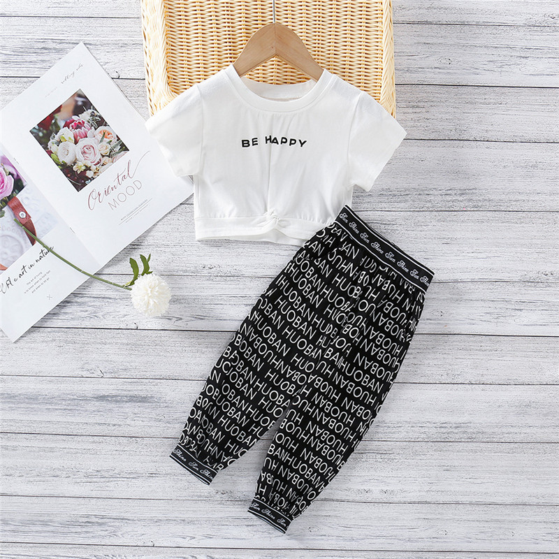 Toddler Girl Letter Printed Short Sleeves T-shirt and Pant Two Pieces Sets