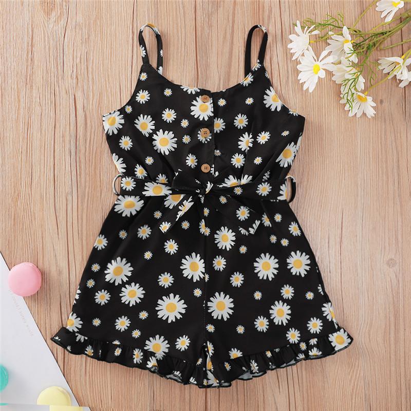 Toddler Girl Black Little Daisy Summer Dresses