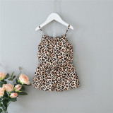 Toddler Girls Sling Leopard Printed Top Shorts Two Pieces Set
