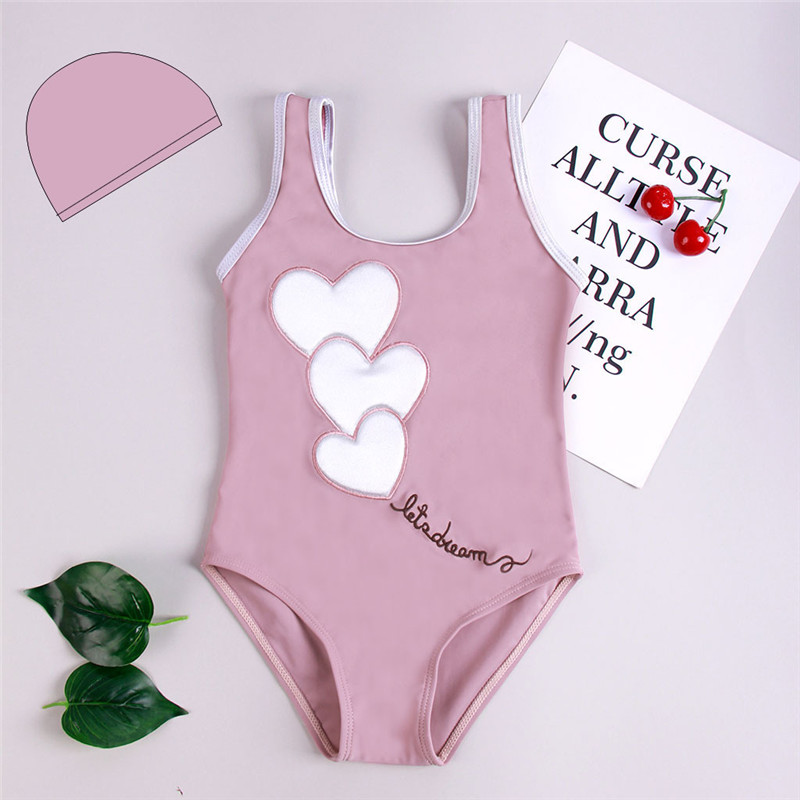 Toddler Kids Girl Pink Love Pattern One-piece Swimsuit