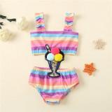 Toddler Kids Girl Rainbow Sequin Ice Cream One-piece Swimsuit