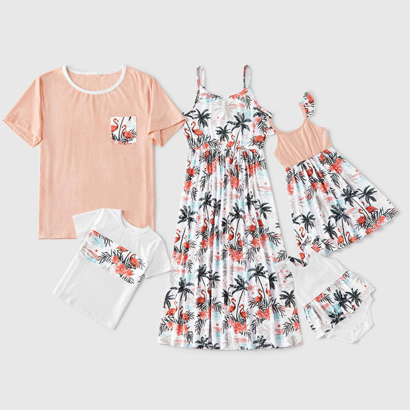 Flamingos Coconut-Print Dress And T-Shirt Matching Family Set