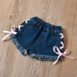 Toddler Girl Pink Off The Shoulder Bow and Lace Up Denim Shorts Two Pieces Sets