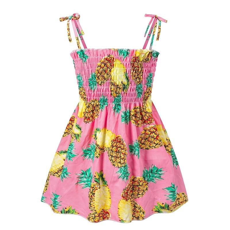 Toddler Girl Prints Pineapples Lemons Fruits Summer Dresses