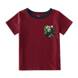 Matching Family Sets Floral Ruffles Dress And Wine T-shirt