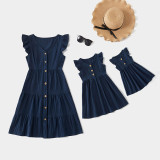 Mommy and Me Ruffle Sleeves Flounce Edge Buttons Dresses
