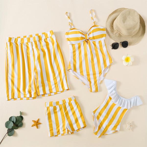 Family Matching Swimwear Stripe Bikini Swimsuit and Truck Shorts