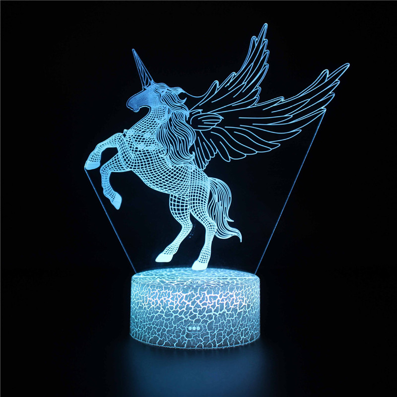 Unicorn Angel 3D Night Light LED Lamps Seven Colors Touch LED With Remote Control