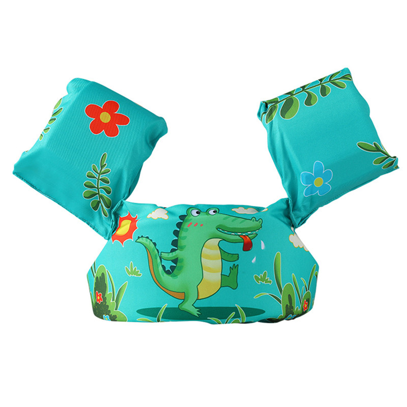 Toddler Kids Print Green Crocodile Swim Vest with Arm Wings Floats Life Jacket