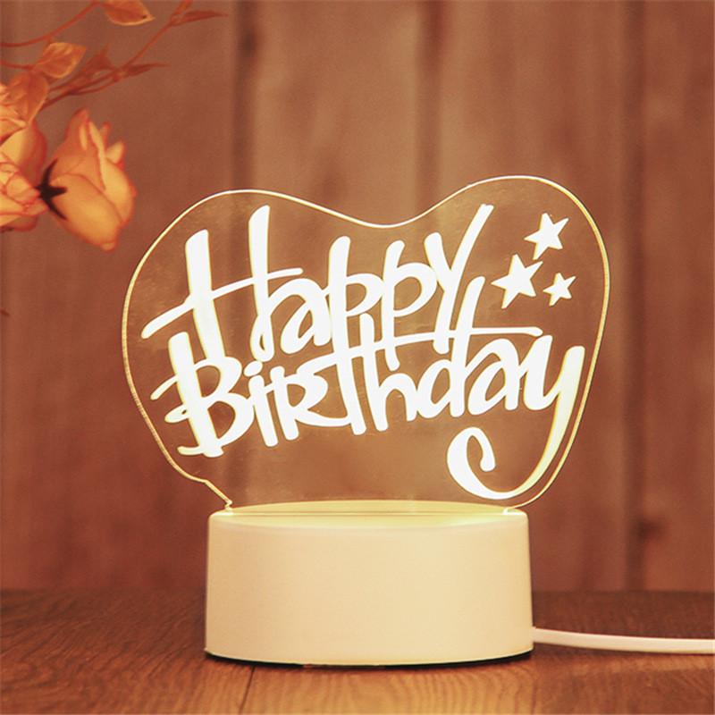 3D Happy Birthday Love Heart  USB Bedroom Night Light