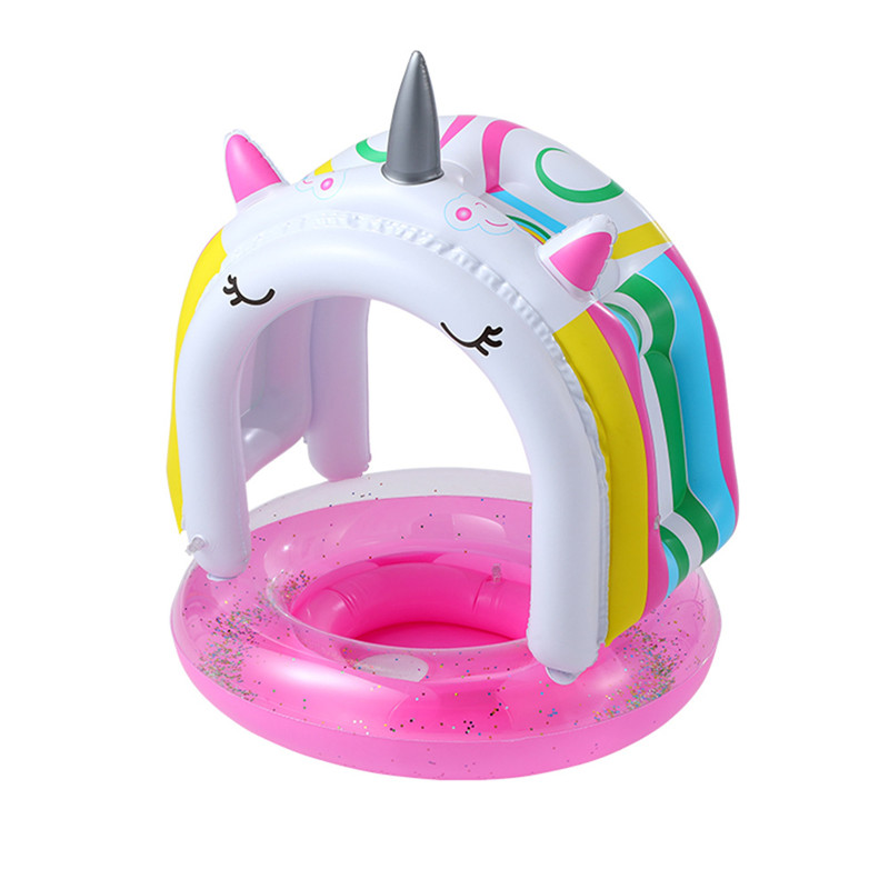 Toddler Kids Inflatable 3D Sequins With Sunshade Unicorn Swimming Circle