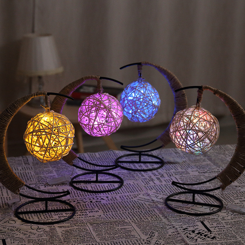 Night Hemp Rope Ball Light USB Decoration Bedroom Light