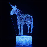 Unicorn 3D Night Light LED Lamps Seven Colors Touch LED With Remote Control