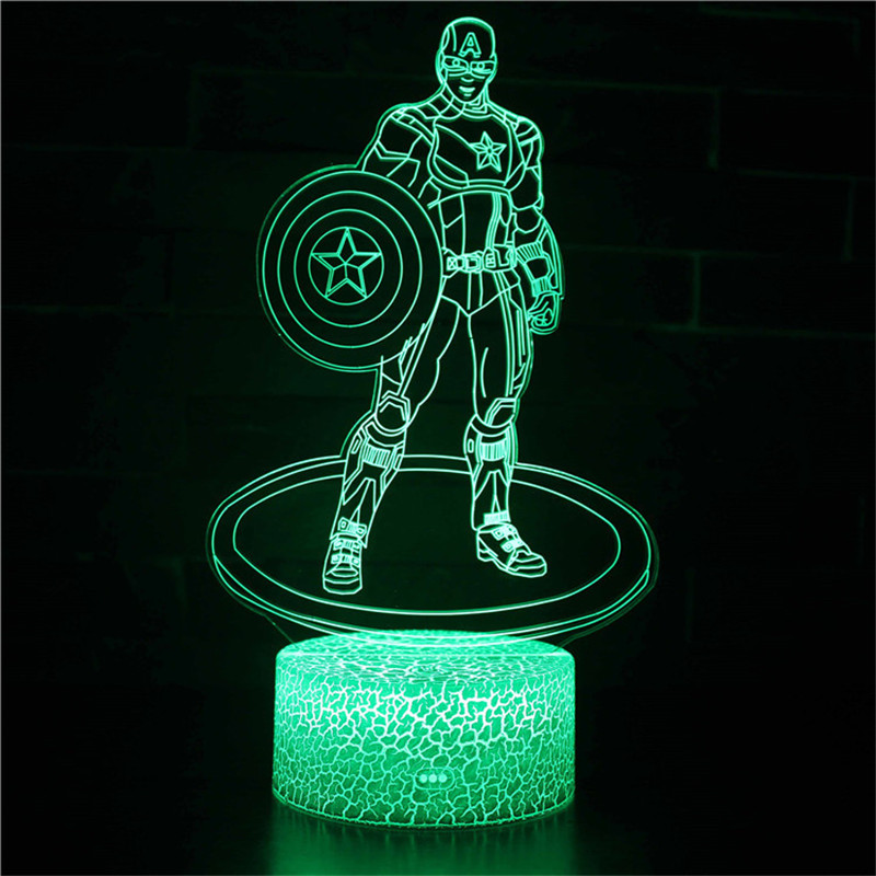 3D Marvel Avengers Captain America Series Night Light LED Lamps Seven Colors Touch Lamps With Remote Control