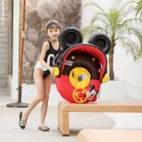 Toddler Kids Inflatable Mickey Mouse Sitting Swimming Circle With Sunshade