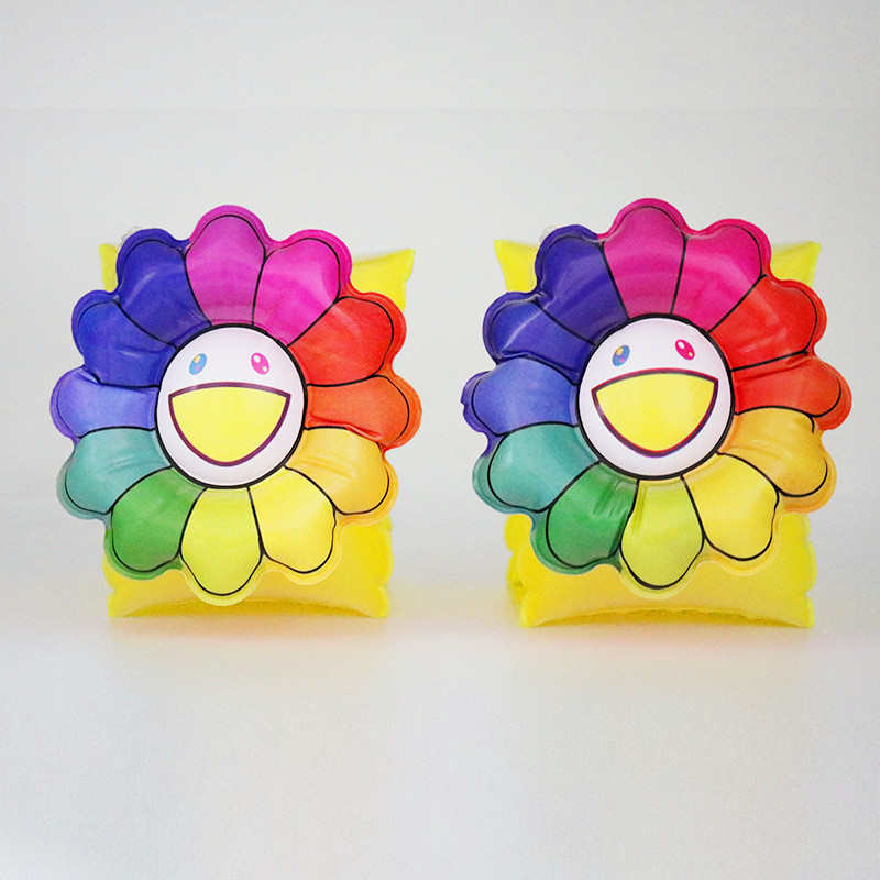 Toddler Kids Float Inflatable Rainbow Sun Flower Arm Rings For Swimming