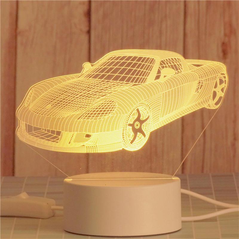 3D Motorcycle Racing Car Bedroom Night Light