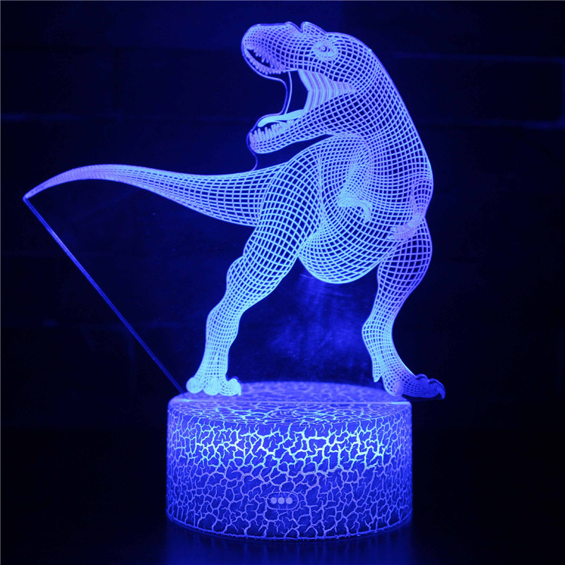 Dinosaur 3D Night Light LED Lamps Seven Colors Touch LED With Remote Control