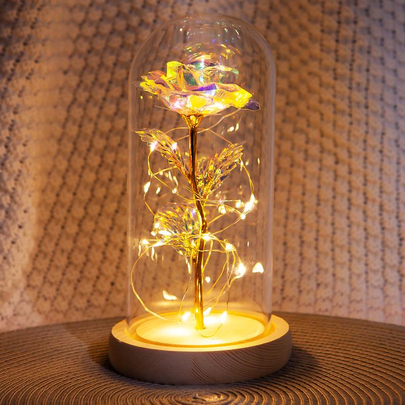 LED Eternal Flower Glass Cover Rose Gold Foil Gifts