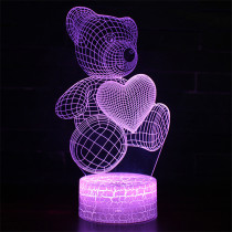 3D Cute Heart Bears Series Night Light LED Lamps Seven Colors Touch Lamps With Remote Control
