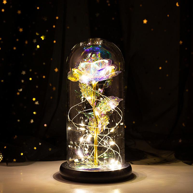 LED Eternal Luminous Rose Flower Glass Cover Rose Gold Foil Gifts