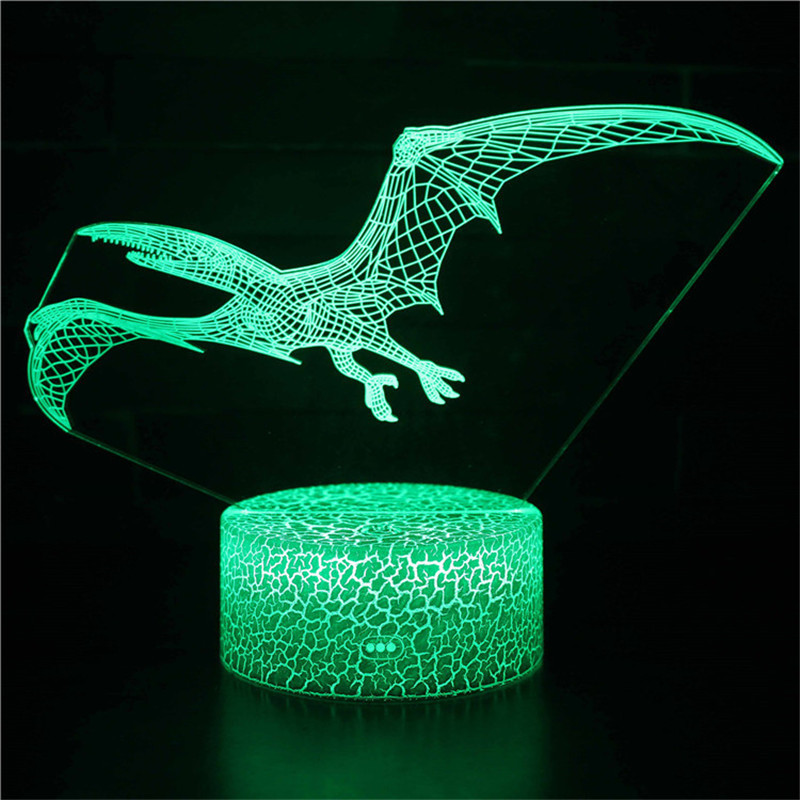 Cute Dinosaur 3D Night Light LED Lamps Seven Colors Touch LED With Remote Control
