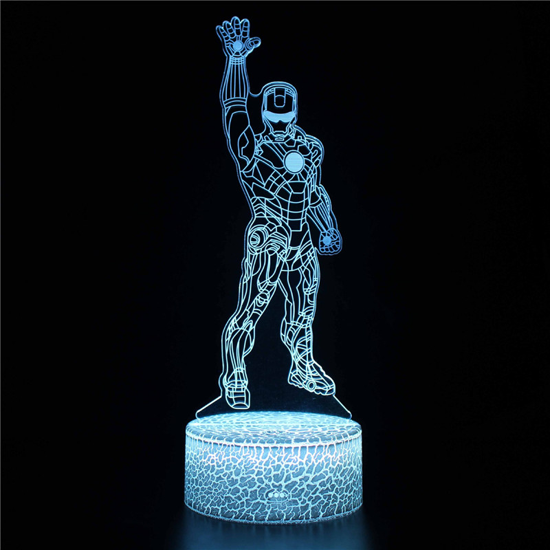 Avengers 3D Night Light LED Lamps Seven Colors Touch LED With Remote Control