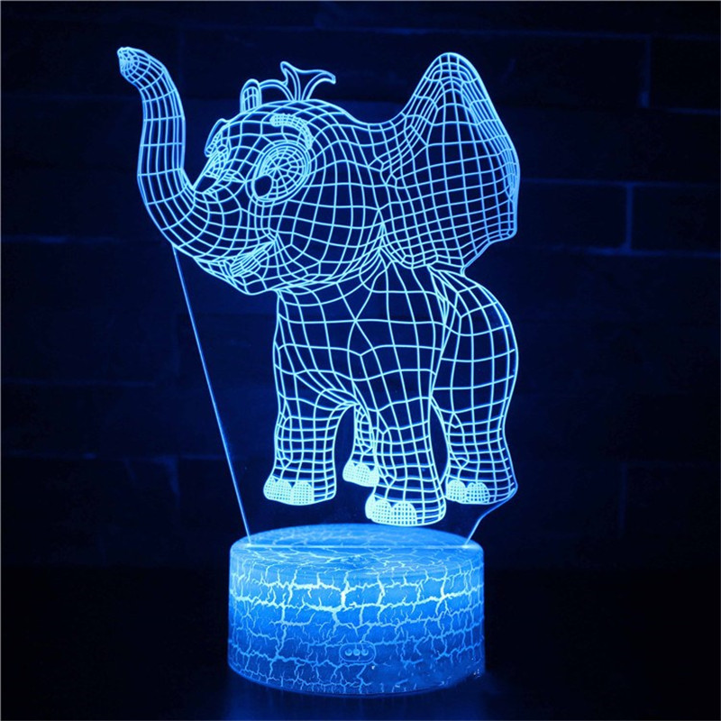 Cute Elephant 3D Night Light LED Lamps Seven Colors Touch Lamps With Remote Control