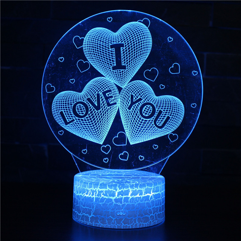 3D Valentine's Day Series Night Light Lamps Seven Colors Touch LED With Remote Control