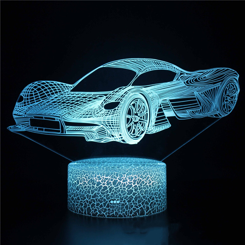 3D Cute Car Series Night Light LED Lamps Seven Colors Touch Lamps With Remote Control