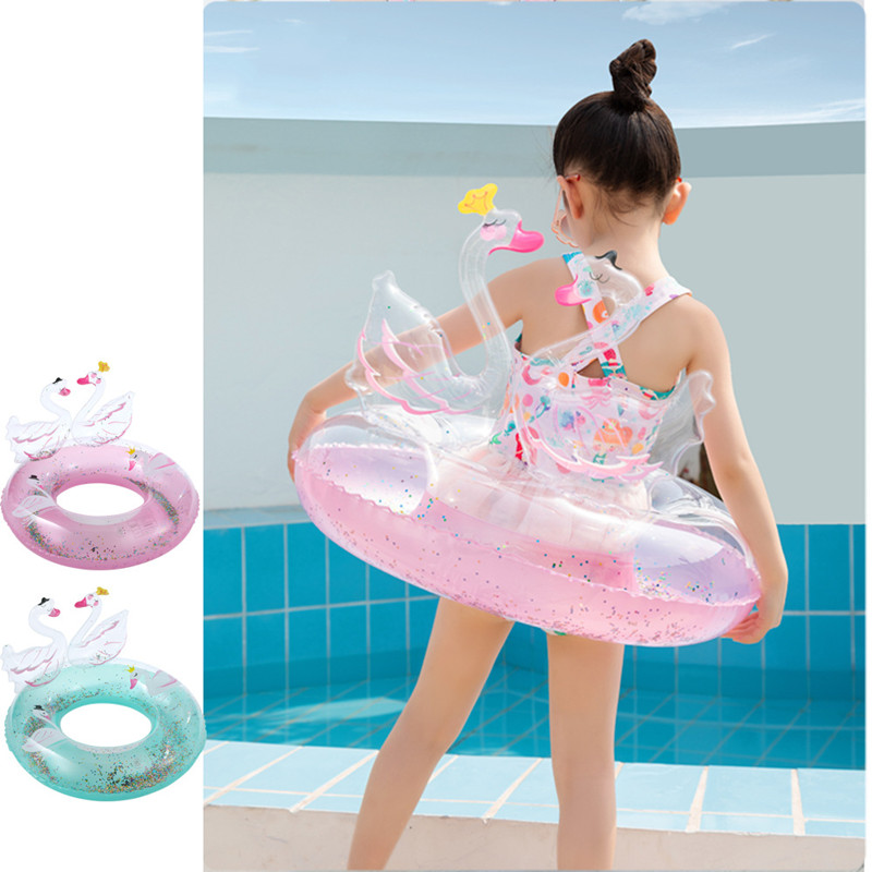 Toddler Kids Pool Floats Inflated Swimming Rings 3D Sequins Swan Swimming Circle
