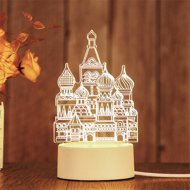 3D Castle Ferris Wheel USB Bedroom Night Light