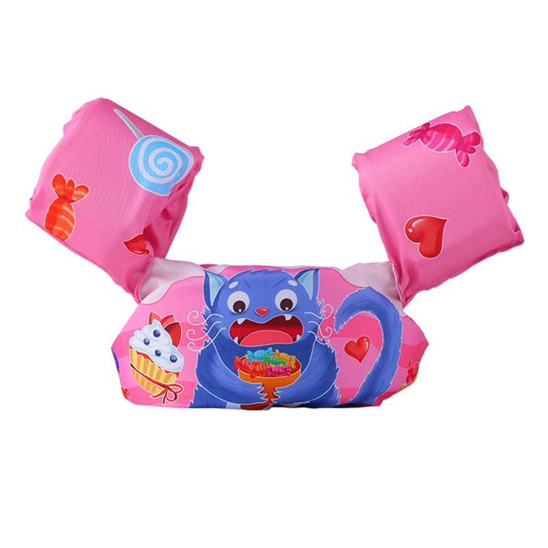 Toddler Kids Swim Vest with Arm Wings Floats Life Jacket Print Candy Cat