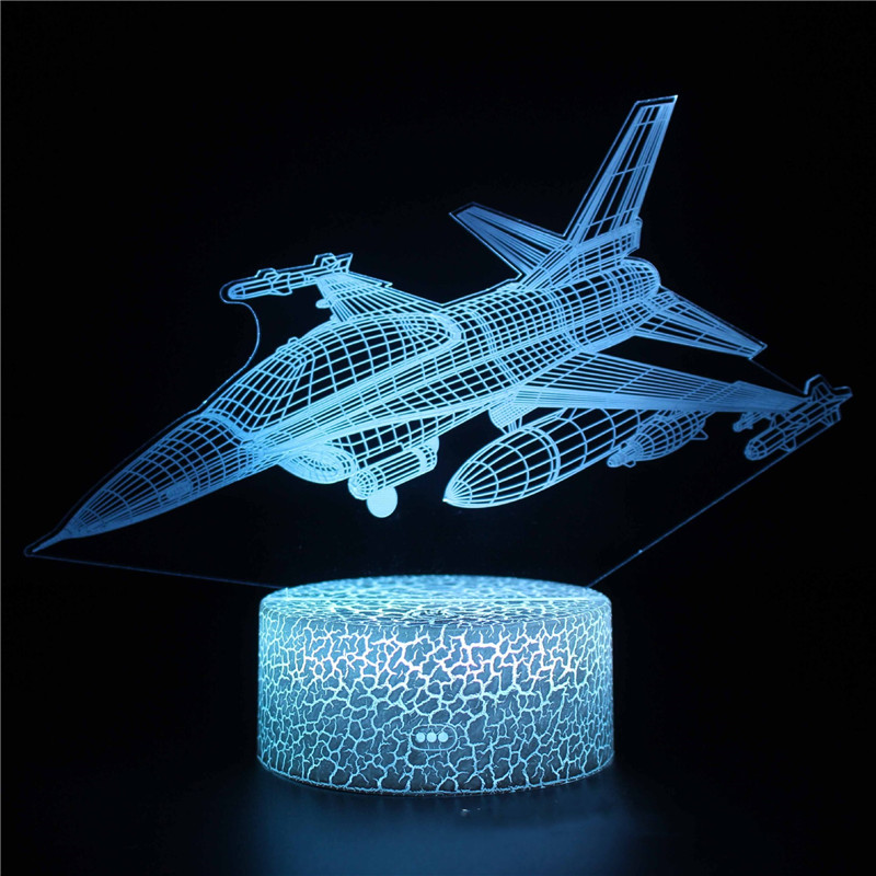 3D Cute Plane Series Night Light LED Lamps Seven Colors Touch Lamps With Remote Control