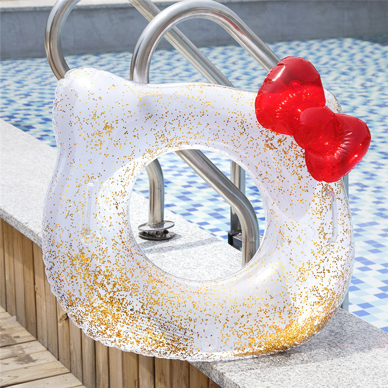 Toddler Kids Pool Floats Inflated Swimming Rings Sequins Rabbit Hello Kitty Swimming Circle