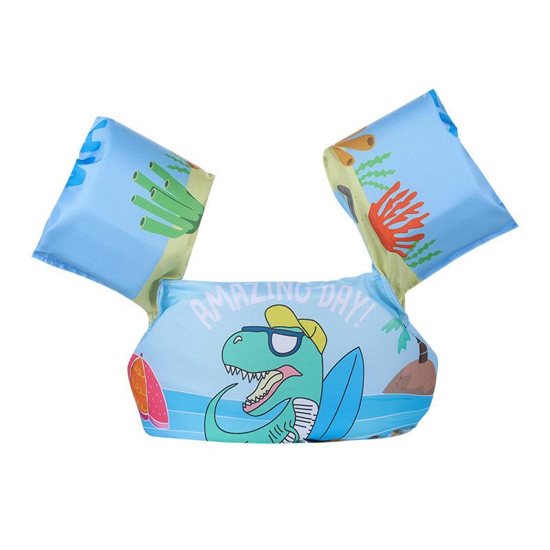 Toddler Kids Print Dinosaur Swim Vest with Arm Wings Floats Life Jacket