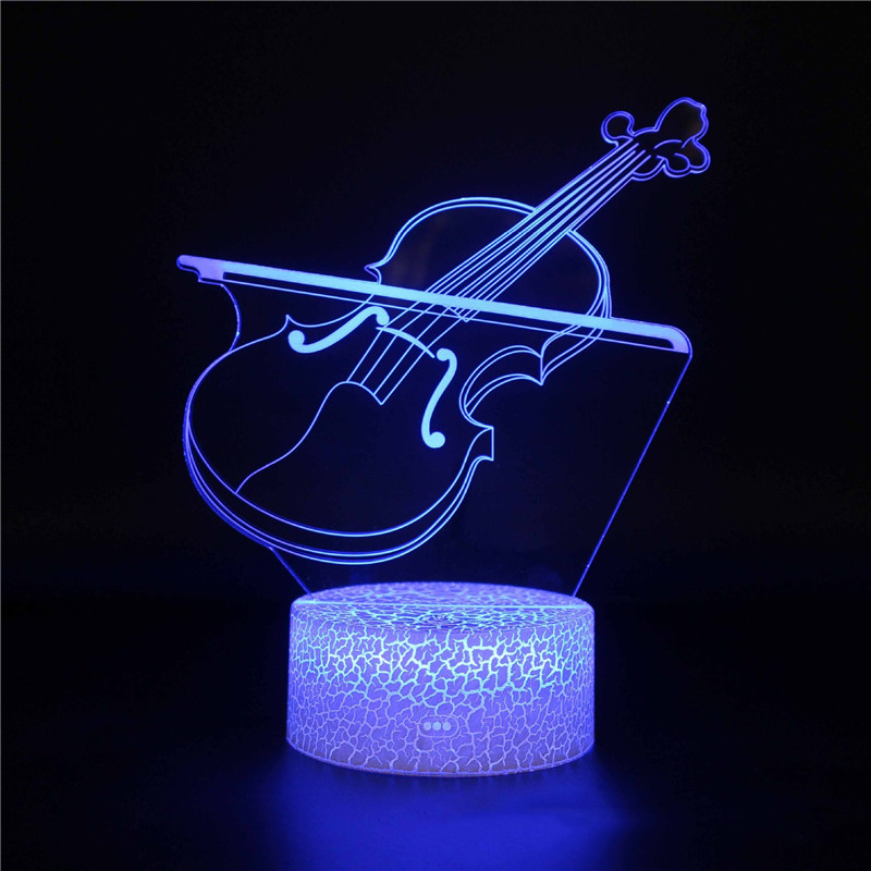 3D Guitar Violin Music Series Night Light LED Lamps Seven Colors Touch Lamps With Remote Control