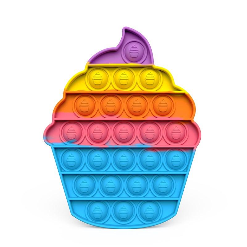 Rainbow Icecream Pop It Fidget Toy Push Pop Bubble Sensory Fidget Toy Stress Relief For Kids & Adult