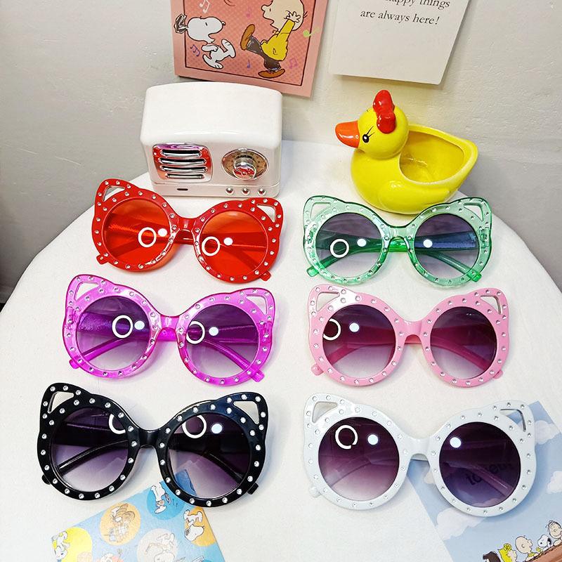Kids Cartoon Cat Point Drill Anti-UV Protection Sunglasses