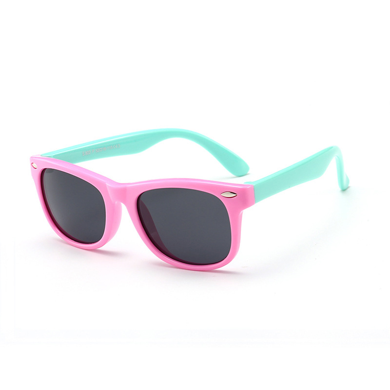 Kids UV Protection TPEE Rubber Polarized Sunglasses Pink Frame