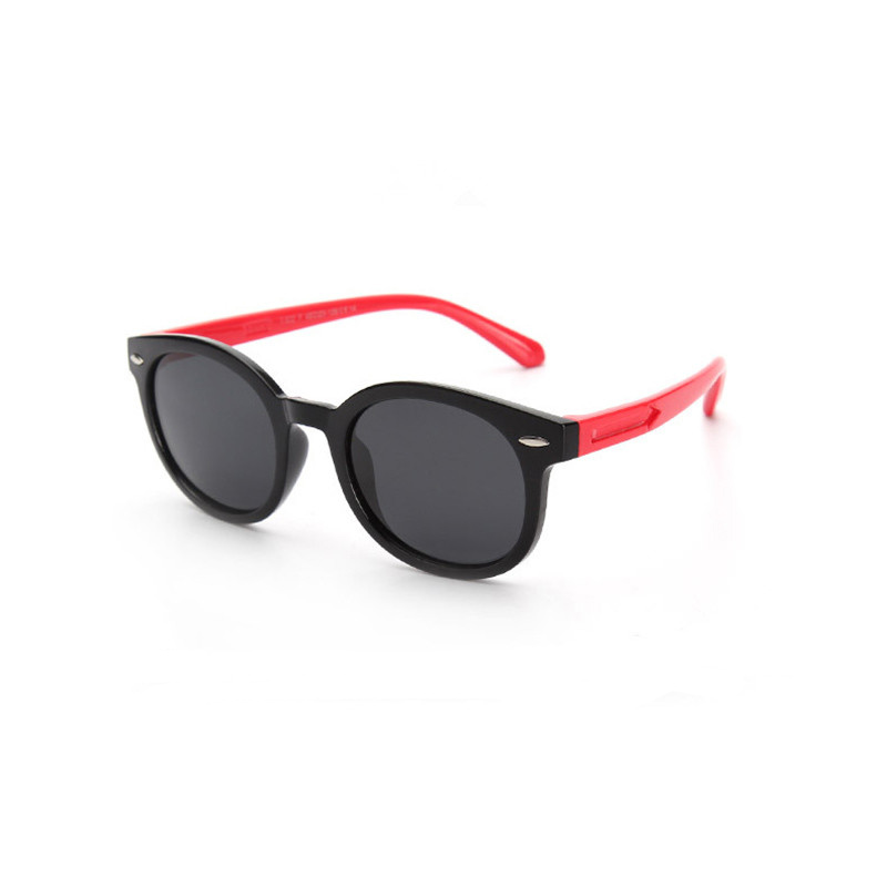 Kids Boys & Girls Tinted Glasses Silicone Sunglasses Red Frame